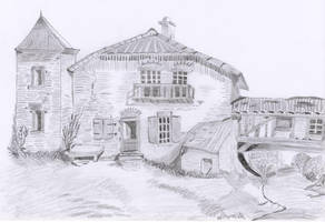 Old house with river by oswin-drawings