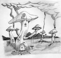 Fantasy landscape by oswin-drawings