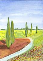 Watercolour landscape by oswin-drawings