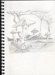 Mushroom city by oswin-drawings