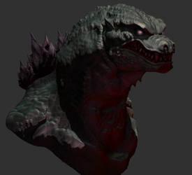 Godzilla bust by SpaceDragon14