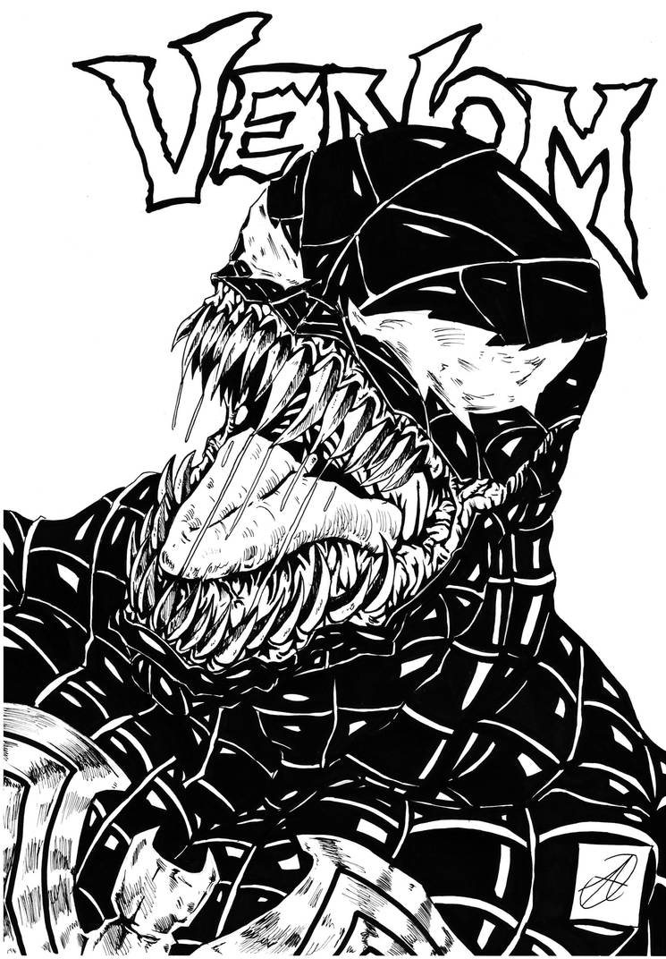 venom portrait spiderman 3 style bw by darkartistdomain