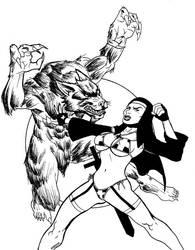 Werewolf v.s. Warrior Nun by mdjc