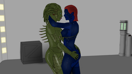 Green and blue babes: Sil and Mystique by Hellraiser-89