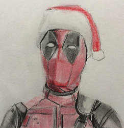 Deadpool in Santa hat by CaptainEdwardTeague
