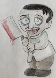 Peter Lorre with Bloody Cleaver by CaptainEdwardTeague