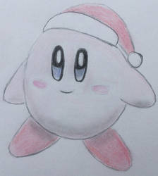Kirby in Santa Hat by CaptainEdwardTeague