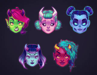 Demon Girls by ribkaDory
