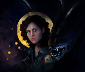 Ripley and her Xenomorph by SariSariola