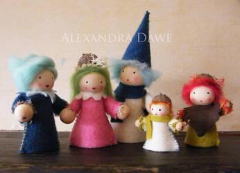 Wood and felt dolls by alexandradawe