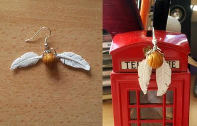 Golden Snitch earring by EerieStir