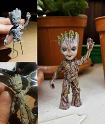 Pocket Baby Groot Sculpture by EerieStir
