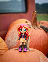 Sunset Shimmer with Halloween Pumpkins by AquilaTEagle