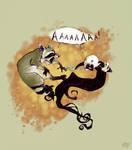 hehe... vampire slaying racoon by koosh-llama