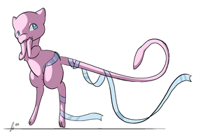 Mew with Ribbon by jaclynonacloud