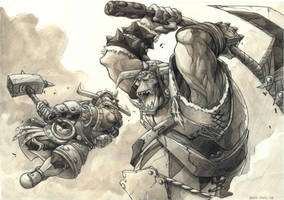 Orc VS Dwarf by YopparattaNoSaru