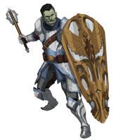 Glorimm. Half-Orc Paladin by bluepenciladventures