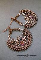 earrings with pink topaz by nastya-iv83