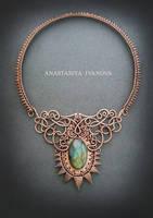 copper necklace with labradorite by nastya-iv83