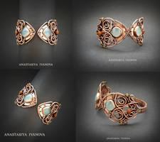 bracelet with chalcedony by nastya-iv83