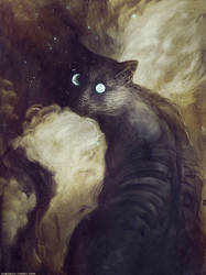 The Cat and the Moon by Checanty