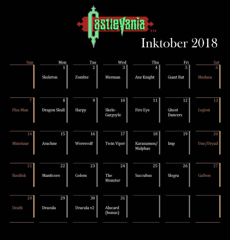 Inktober2018Calendar by E-Nomad