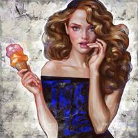 Girl with ice creom by Olga-Tereshenko