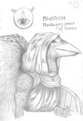 MacHuginn, Kenku cleric of Deneir by MyrddinDerwydd