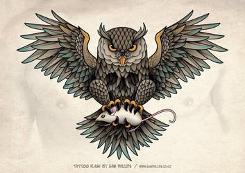 Owl Skull Tattoo by Sam-Phillips-NZ