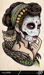 Dia de Muertos Owl Tattoo by Sam-Phillips-NZ