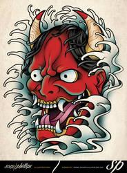 Hannya Mask Tattoo by Sam-Phillips-NZ