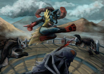 Mega Lucario vs Mightyena by pokePiterr