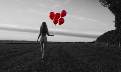 Red Balloons by rhinodancer