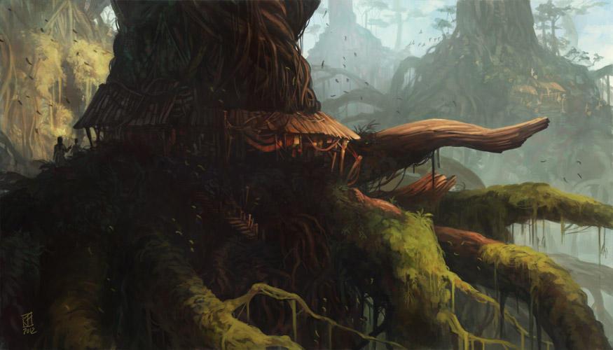 concept : tree village by fallen-eye