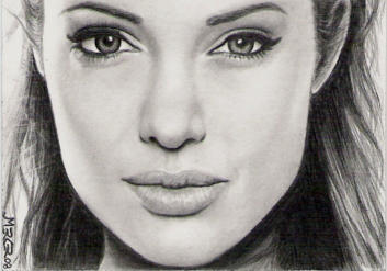 Angelina Jolie sketch card by jenchuan