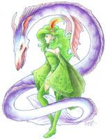 Rydia and Leviathan by medli