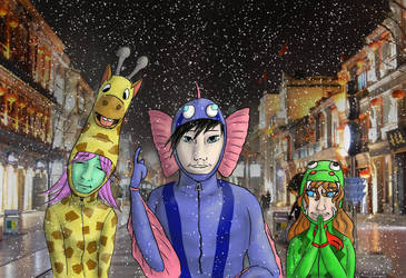 A Giraffe, a Fish and a Snake are going to enter.. by DarAeryll