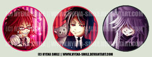Kuroshitsuji Buttons 1 by hyena-smile