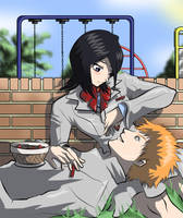Ichigo and Rukia by lynnember