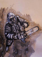 cosmonaut with a chainsaw. by JoelLolar