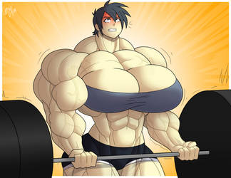 Commission - Janet's Barbell Curl by Forsa-kun