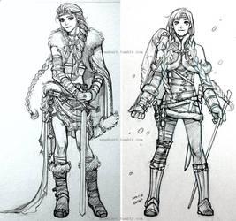 Elsa and Anna, viking character sketch by evankart