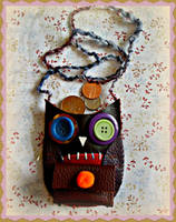 Handsewn owl coin purse by moonwolf17