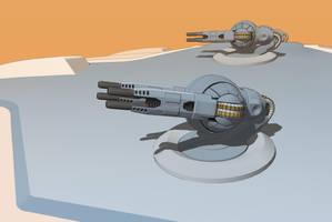 Quad particle gunturret by Scifiwarships
