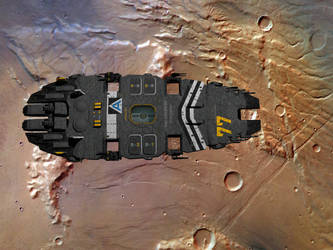 SBF Cressida in orbit over Mars by Scifiwarships