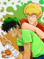 Kacchan and Deku by luckylizart