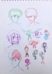 Some colourful Bnha sketches! by luckylizart
