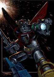 Voltron on black paper by LucaStrati