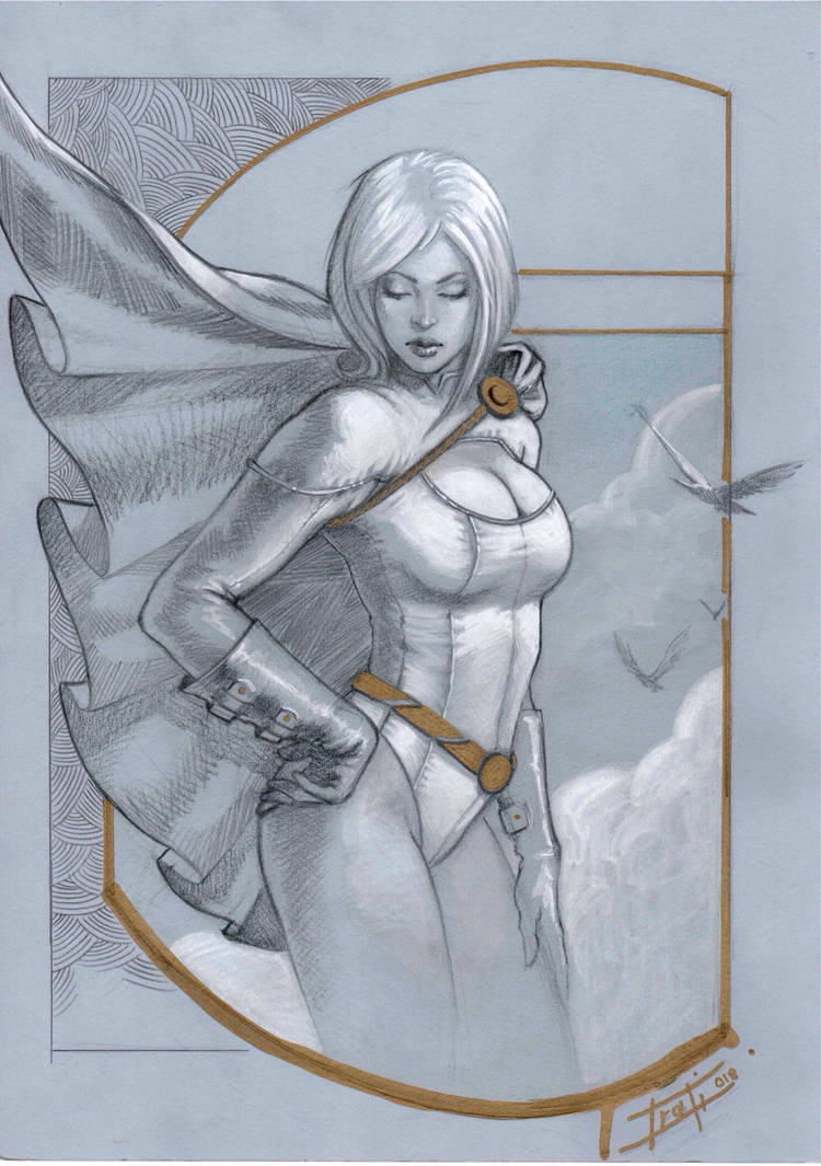 Power girl on toned paper by LucaStrati
