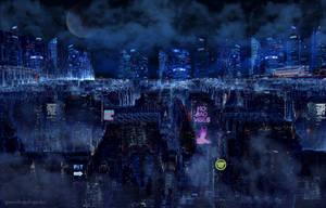 Cyberpunk city by greendragon-gecko